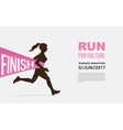 number one winner at a finish line breast cancer vector image vector image