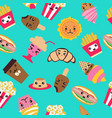 pattern with fast food cute background vector image vector image