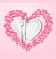 plate in shape of heart knife fork roses vector image vector image