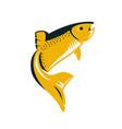 reto style fish on white background flat vector image