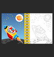 rocket going to space with cute elephant cartoon vector image