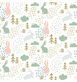seamless childish pattern with cute bunny vector image