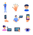 set different biometric type security for vector image vector image
