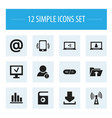 set of 12 editable network icons includes symbols vector image vector image