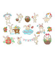 set of cute easter bunnies vector image