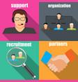 set of flat business elements stylish vector image