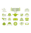 set of food labels with text vegetarian vector image vector image