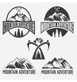 set of vintage labels mountain adventure vector image