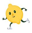 skiing lemon sportive character sportsman mascot vector image