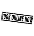 square grunge black book online now stamp vector image vector image