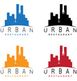 urban restaurant emblems set negative space vector image vector image