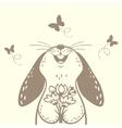 bunny cute silhouette vector image