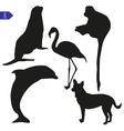 Set of silhouettes of animals vector image
