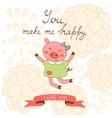 You make me happy romantic card with cute jumping vector image