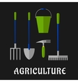 Agricultural and gardening tools flat icons vector image