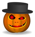 an evil pumpkin with a hat on a white background vector image vector image