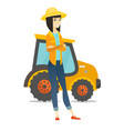 asian farmer standing on the background of tractor vector image vector image