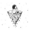 astronaut sits on flying island vector image vector image