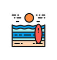 beach landscape flat color line icon isolated vector image vector image