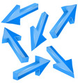 blue 3d arrows set of shiny straight signs vector image vector image