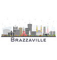 brazzaville republic of congo city skyline with vector image