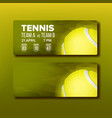 bright coupon for visit tennis tournament vector image vector image