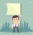 businessman holding white flag place for text vector image vector image