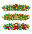 christmas garlands xmas tree gifts presents vector image vector image