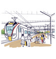 colorful horizontal sketch with people passengers vector image vector image
