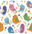 Cute birds seamless pattern vector image vector image