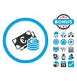 Euro Cash Flat Icon with Bonus vector image vector image