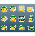 Fishing smile stickers set vector image vector image