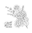 floral garland of hydrangea vector image vector image