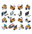 gaming development isometric set vector image