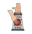 hands on kitchen grater vector image