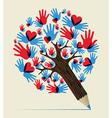 Love hands concept pencil tree vector image