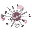 make up brush cosmetics collection art brush vector image vector image