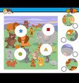 match pieces activity game with animals vector image vector image