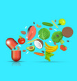 nutritional supplement vitamins and dietary vector image vector image