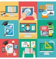 Online education flat icons vector image