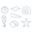 outlines of sea creatures vector image vector image