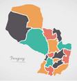 paraguay map with states and modern round shapes vector image vector image
