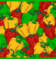 peppers seamless pattern in red yellow and green vector image