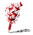 red pencil with birds freedom concept vector image vector image