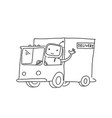 robot on the truck goods delivery sketch vector image vector image