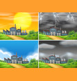 set factory in different weather vector image vector image