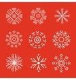 Set of 9 abstract snowflakes vector image vector image