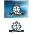 Ship anchor in round rope border vector image vector image