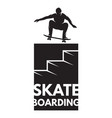 skateboarder athlete in jump as a badge vector image vector image