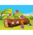 Snails and a wood house vector image vector image